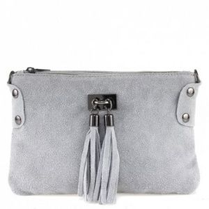 2/$50 Suede Shoulder Bag-Grey